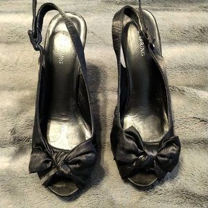 Call It Spring Black Heels with Bow
